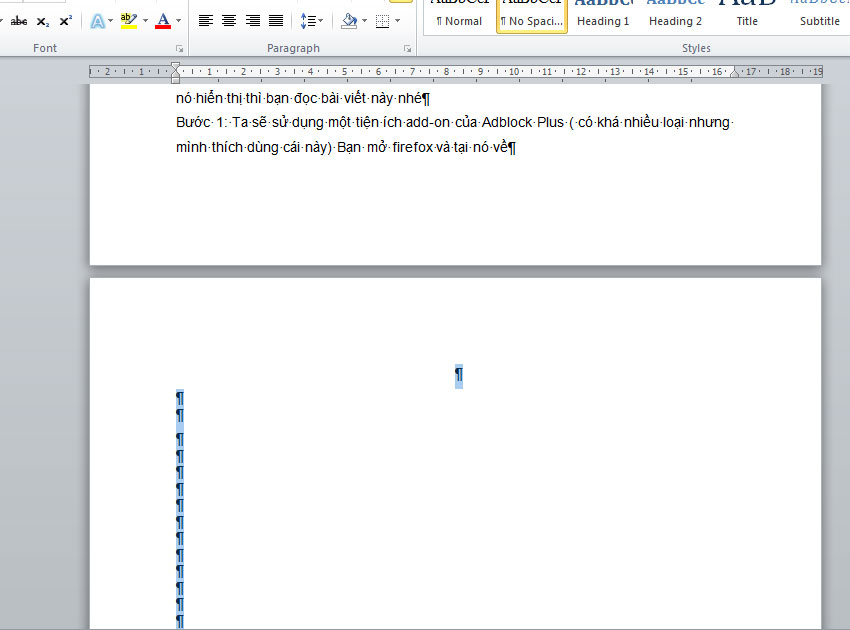 Cách xóa 1 trang trắng trong word