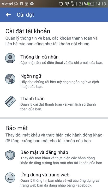 cách đổi tên facebook trên điện thoại samsung