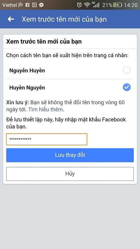 cách đổi tên nick facebook trên điện thoại samsung